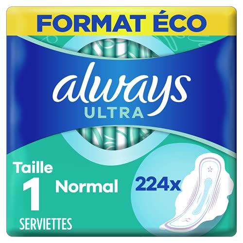 Always Ultra, Serviettes Hygiéniques Normal, Taille 1 avec Ailettes, Super absorbantes et Ultra Fines, Format Eco x224 (16 packs de 14 unités)