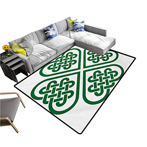 Celtic Floor Mat Monochrome Four Leaf Clover Flower Shaped Authentic Timeless Celtic Form Gaelic Playmat Rug Green White (5'x8')