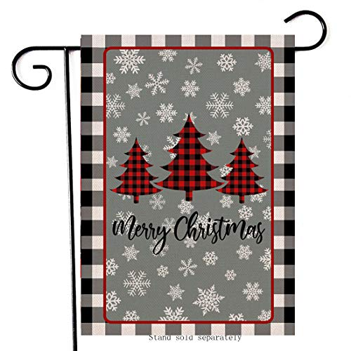 Artofy Merry Christmas Decorative Small Garden Flag, Buffalo Plaid Check House Yard Outside Welcome Decor Xmas Tree, Winter Holiday Home Decoration Farmhouse Seasonal Outdoor Flag Double Sided 12 x 18