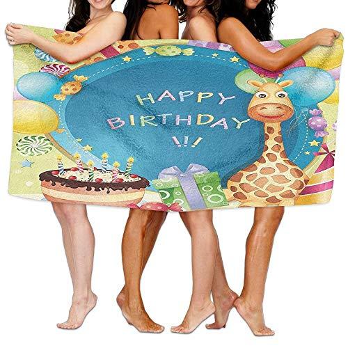 Duanrest verjaardag voor kinderen felicitatie wensen op blauwe achtergrond partij ballonnen zacht absorberende strand handdoek zwembad handdoek 130x80cm