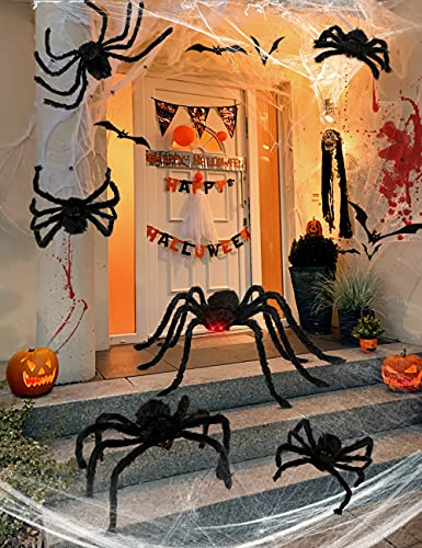 Halloween Plush Spiders Set, HOPOCO 200″ Web + 59″ Plush Spider with Red Eyes + 20 Spiders + 20g Spider Web for Indoor Outdoor Halloween Decor for Home Party Yard Haunted House Decorations