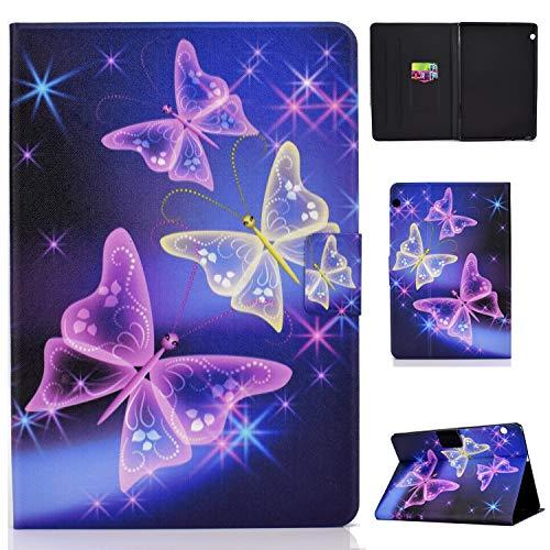 Succtop Hülle für Huawei Mediapad T5 10 PU Leder Schutzhülle Flip Cover Hülle Brieftasche Stand Magnetschnalle Tasche Hülle mit Kartenschlitz für Huawei Mediapad T5 10.1 Zoll 2018 Lila Schmetterling