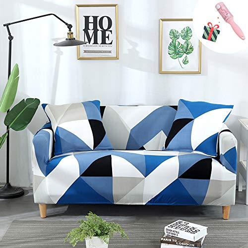 Elastisch Sofa Überwürfe Sofabezug, Morbuy Elegante Geometrie Ecksofa L Form Stretch Antirutsch Sofa Abdeckung Couchbezug Sesselbezug für Armlehnen Sofa (3 Sitzer,Blau)