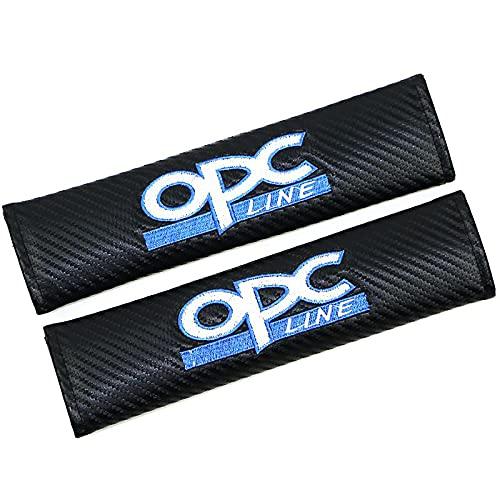 ONETOOSE 2 Fundas para CinturóN De Seguridad para Hombreras, Fibra de Carbon,con Logotipo Bordado, Funda Protectora para CinturóN De Seguridad, para Opel OPC Logo