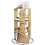 UKMASTER Bücherregal 360°Drehbar, Standregal mit 3 Ebenen, Regal für Bücher, Bambusregal, 37x37x93cm