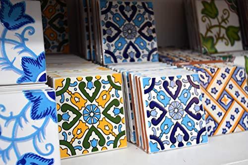 25 Mattonelle MISTE in ceramica smaltata. Pacco contenente 25 mattonelle decorate 10 X 10 cm spessore 0,6 cm - Mattonelle Tunisine realizzate con Serigrafia Artigianale