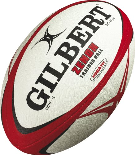 Gilbert Zenon Trainer Rugby Ball (Black/Scarlet, Size-4)