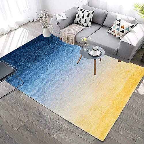 BLZQA Alfombra Moderna de Pelo Corto Costuras Azul Amarillo Alfombra De Salón Antideslizante Salón Dormitorio Fácil de cuidar, al Aire Libre Cámping Viaje 120 x160 cm