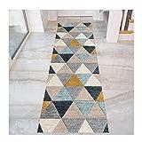 WERTYU Coloré Triangle Modèle Tapis Couloir, Antidérapant Entrée Tapis for Cuisine Salon Chambre Entrée, Lavable-60x250 cm