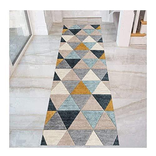 WERTYU Coloré Triangle Modèle Tapis Couloir, Antidérapant Entrée Tapis for Cuisine Salon Chambre Entrée, Lavable-60 x 400 cm
