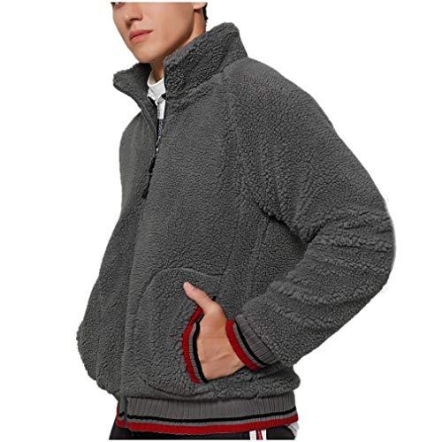 Feytuo Mantel Herren Winter Angebote Mantel Kurz Regular Fit Schwarz Wolle Rundhals Ausschnitt Einfarbig Warm Herren Sweatshirt Jacke ReißVerschluss Grau Elegant