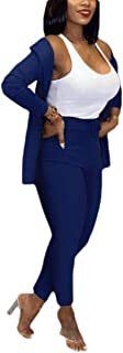 Women 2 Piece Solid Color Long Sleeve Blazer with Pants Casual Business Suit Sets