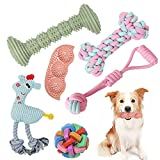 Dog Chew Toys for Puppies, 6 Pack Pet Teething Toys for Playtime and Teeth Cleaning, Squeaky Toys for Dogs Rubber Ball Dog Rope Toy Durable Pet Toys for Dogs Interactive Plush Dog Toys