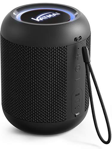 Kabelloser Bluetooth Lautsprecher, KATMAI E7-L Bluetooth-Mini-Lautsprecher, Bass-up, Verlaufslicht, IPX65, 13h Spielzeit, kabelloses Stereo-Dual-Pairing, Lautsprecher für Zuhause, draußen, Reisen