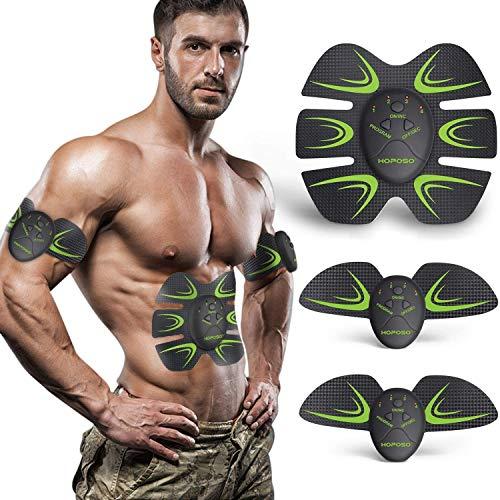 HOPOSO Elettrostimolatore per Addominali,Elettrostimolatore Muscolare Professionale, Stimolatore Muscolare 2 in 1 Massager...
