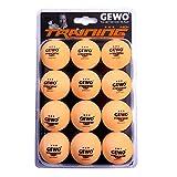 GEWO Unisex– Erwachsene 3-Stern Tischtennisball im handlichen 12er Pack, Orange, 40 mm
