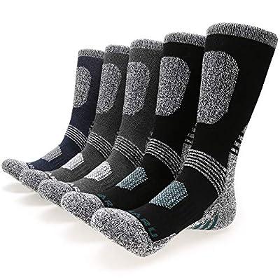 MIRMARU Men's 5 Pairs Hiking Socks- Multi Performance Moisture Wicking Outdoor Sports Hiking Crew Socks (M251-LARGE)