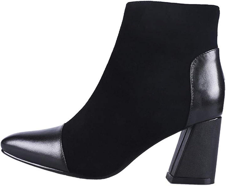 JUNKAI Stiefel für Damen im Herbst und Winter mit kurzen Absätzen, Kurze Stiefel, Spitzstiefel, hohe Stiefel, Martin Stiefel. Thirty-Seven  | Verschiedene Arten Und Die Styles