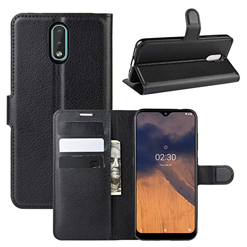 betterfon | Nokia 2.3 Hülle Handy Tasche Handyhülle Etui Wallet Hülle Schutzhülle mit Magnetverschluss/Kartenfächer für Nokia 2.3 PU-Leder Schwarz