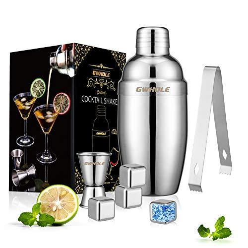 GWHOLE Cocktail-Shaker-Set, Edelstahl, 550 ml, Martini-Shaker-Set, silberfarben