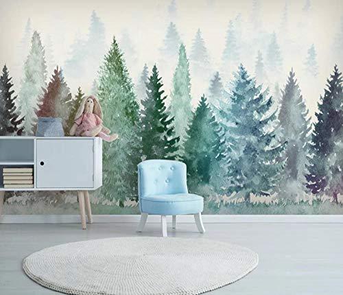 Papel Pintado Bosque De Niebla Acuarela Fotomurales Decorativos Pared 3D GREAT ART Póster Sala de Estar Dormitorio TV Fondo 140x100CM
