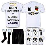 DE-Fanshop Deutschland Trikot Set 2021 mit Hose & Stutzen GRATIS Wunschname + Nummer im EM WM Weiss Typ #DE5ths - Geschenke für Kinder Erw. Jungen Baby Fußball T-Shirt Bedrucken