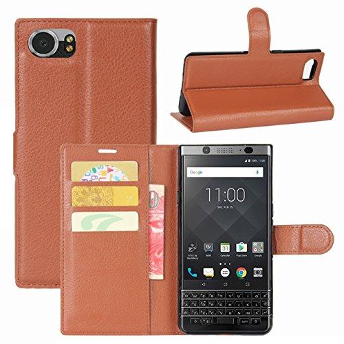 HualuBro BlackBerry KEYone Hülle, Leder Brieftasche Etui LederHülle Tasche Schutzhülle HandyHülle [Standfunktion] Handytasche Leather Wallet Flip Hülle Cover für BlackBerry KEYone (Braun)