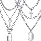 Silver Layered Chain Necklace Set, Funky Punk Egirl Eboy Chains Lock and Key Pendant Stainless Steel Paperclip Necklace Jewelry for Gifts