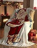 Father Christmas Manta Decorativa de Forro Polar con diseño De Papá Noel, para Navidad, para Cama o sofá, Multicolor