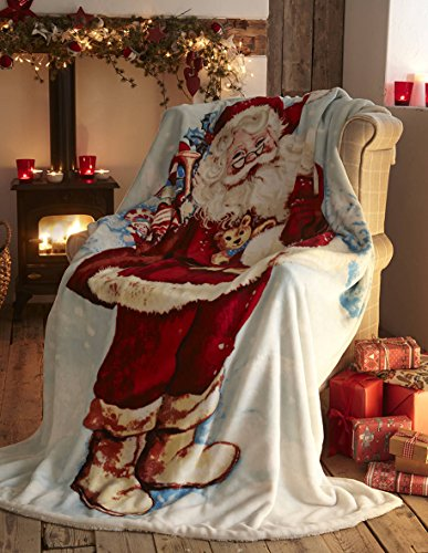 Father Christmas Coperta in Pile Decorativa per Divano e Letto, Motivo: Babbo Natale, Multicolore