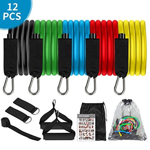 Hiraliy Resistance Bands Widerstandsbänder Set, 5 Fitnessbänder mit Griff, Fußschlaufen, Türanker, Tragetasche, Trainingsband
