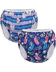Teamoy Pieluchy pływackie wielokrotnego użytku (2 opakowania) dla małych chłopców i dziewcząt, wygodne, nadające się do prania i regulacji, idealne do lekcji pływania / wakacji
