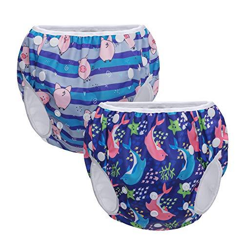 Teamoy 2-Teilige Wiederverwendbare Schwimmwindel Baby, Baby Badehose Jungen, Kinder Schwimmhosen Verstellbar, Stoff Schwimmwindeln Mädchen 0-3 Jahre, Delphin und Schweinchen