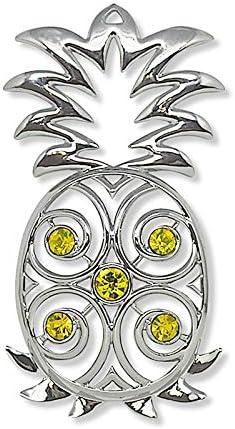 Jewel Metal Hawaiian Christmas Ornament Pineapple product image
