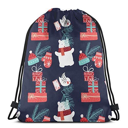 LREFON Gimnasio Bolsas con cordón Mochila Año Nuevo OSO Mochila Bolsa para almacenamiento de viaje Organizador de zapatos Hombro de la escuela Botella de agua Niños