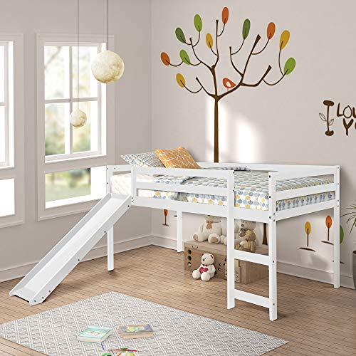 Twin Loft Bed with Slide for Kids/Toddlers, Wood Low Sturdy Loft Bed, No Box Spring Needed, 78.2' L x 42.3' W x 44.4' H (White)