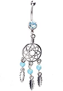 Niome Dream Catcher Rhinestone Dangle Belly Navel Ring Bar Barbell Body Piercing Jewelry