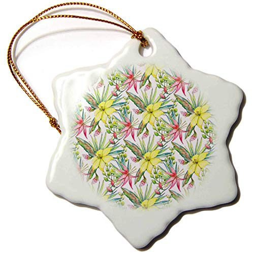 Blake55Albert Anne Marie Baugh Patterns Pretty Image of Watercolor Yellow and Pink Tropical Floral Pattern Christmas Ornaments for Kids Christmas Tree Decoration Ceramic 3 Inches