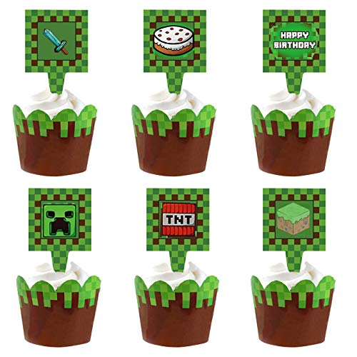 34pcs Pixel Miner Cupcake Wrapper and Cupcake toppers Happy Birthday...