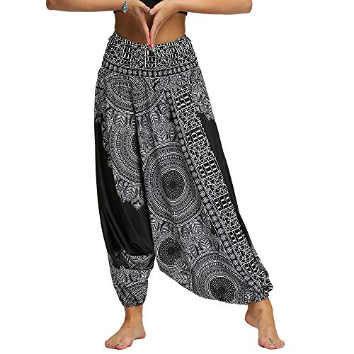 Nuofengkudu Damen Pumphose Aladin Thai Haremshose Hippie Bunt Muster Baggy Leichte Indische Yoga Hosen Hip Hop Sommer Strandhose (Schwarz Muster A,One Size)