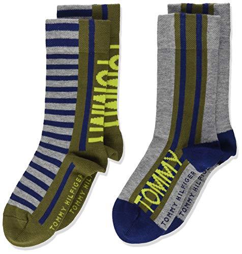 Tommy Hilfiger Jungen TH KIDS 2P BOLD STRIPE Socken, Grün (Olive Combo 020), 35-38 (Herstellergröße: 35/38) (2er Pack)