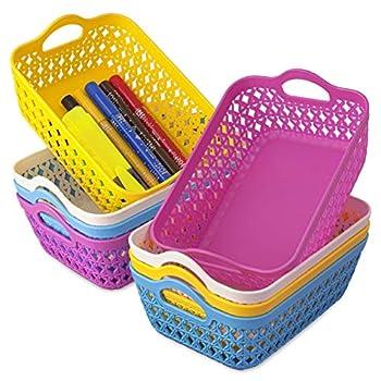 ELIFANA Small Plastic Baskets Multicolored 8 Pcs