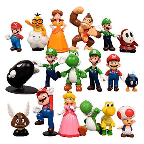 18 figuras de Super Bros Super Mario Super Mario, figuras Toy de PVC, juguete para fiesta de cumpleaños