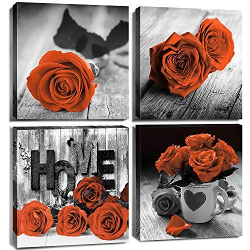 Black and White Floral Wall Art Bedroom Decor Orange Rose Canvas Prints Rose Flowers