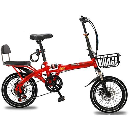 Bicicletas Deportiva Trabajo para Adultos Ultraligera pequeña portátil Plegable Deportiva de Velocidad Variable de 20 Pulgadas