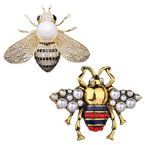 CAREOR 2 Pack Rhinestone Pearl Bee Brooch Pins Honey Bee Pendant/Brooch Fashion Crystal Insect Pins Golden or Silvery for Women (Gold+Red)