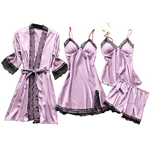 Deloito 4 Stück Dessous Set Damen Kunstseide Spitze Negligee Robe Nachtkleid Babydoll Nachtwäsche Nachthemd Pyjamas Schlafanzug Reizwäsche Vierteiliger Anzug (Lila,Large)