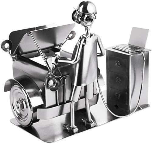 BRUBAKER Schraubenmännchen Automechaniker - Handarbeit Eisenfigur Metallmännchen - Metallfigur Geschenk für Mechaniker, KFZ-Mechatroniker, Tuner und Auto Bastler