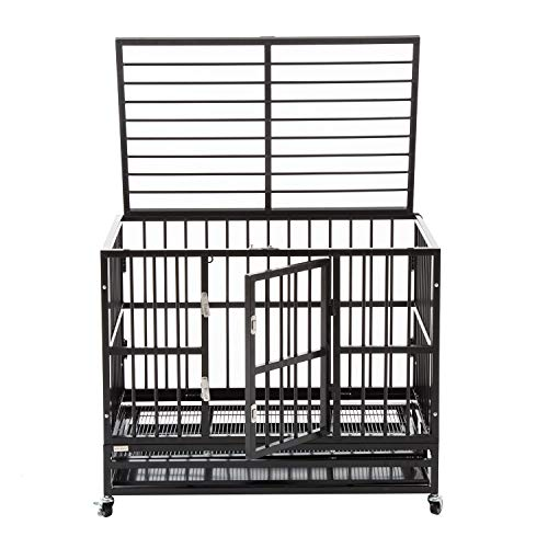 """WALCUT 37"""" Black Heavy Duty Dog Cage Rolling Metal Pet Crate Folding Kennel with Double Door Playpen Wheels & Tray Basic Crates Dog Supplies Top"""