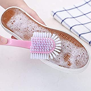 Multi-Faceted Shoe Brush Long Handle Plastic Sneaker Cleaner Brushes for Shoes Care 3 Colors Household Cleaning Tools (Col...